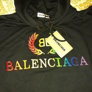 Balenciaga mens black BB hoodie